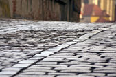 Old cobblestone and sett street — Stock Photo