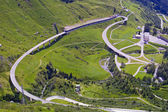 St Gotthard pass towards from Switzerland to Italy — Stock Photo