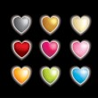 Set of 9 3d vector hearts with a glow affect — Stock Photo #2019295