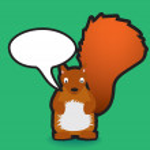 Red squirrel speech bubble — Stock Photo #2258489