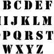 Stencil alphabet letters sprayed in black grafitti style — Foto Stock