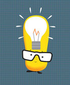 Kawaii manga style cute cartoon character with lightbulb idea — Stock Photo
