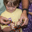 Happy boy holding a striped orange snake — Stock Photo #29987795