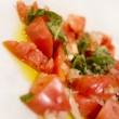 Italian tomato, basil, olive oil and onion starter — Stock Photo