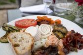 Variety of italian anti pasti outside starter — Stock Photo