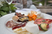 Close up view of anti pasti wide selection — Stock Photo