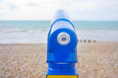 Telescope viewfinder at the beach looking out to sea — Stock Photo