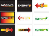 Energy, power and maximum energy backgrounds or symbols — Stock Photo