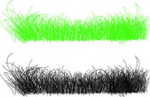 Detailed illustration of thin strands of grass in green and blac — Stock Photo