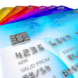 Pile of different coloured orignal designe, credit cards — Stock Photo