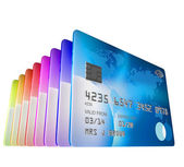 Set of credit cards standing viewed from low angle — Stock Photo
