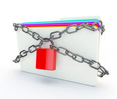 Chains and padlocks around a folder of secret confidential infor — Stock Photo