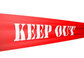 Red ticker tape saying keep out on white background — Stock Photo