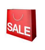 Sale red paper shopping bag symnol — Stock Photo