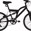 Detailed illustration of the silhouette of a bmx or mountain bik — Stock Photo