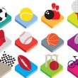 Isometric flat sports ball icon set on white background — Stock Photo