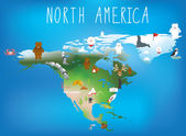 North america map for childrens using cartoons of animals and fa — Stock Photo
