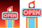 Open sign for roadside retro vintage diner style advertising — Stock Photo