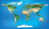 World map for childrens using cartoons of animals and famous lan — Stock Photo