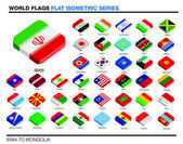 Flags of the world, i-p,  3d isometric flat icon design — Stock Photo