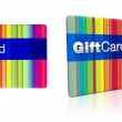 Striped rainbow colours gift card with silver emboss — Stock Photo #47714297