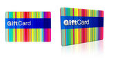Striped rainbow colours gift card with silver emboss — Stock Photo