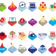 Flat colourful holiday, vacation or beach icons — Stock Vector #47806573
