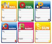 Naučte se číst a psát karty — Stock vektor