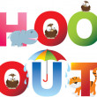 Постер, плакат: Schools out word in childrens alphabet typeface