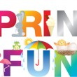 Постер, плакат: Spring fun word in childrens alphabet typeface
