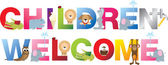 Children welcome sign in childrens alphabet typeface — Stock Photo