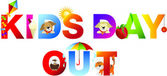 Kids day out word in childrens alphabet typeface — Stock Photo