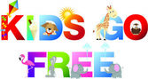 Kids go free word in childrens alphabet typeface — Stock Photo