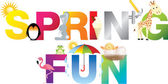 Spring fun word in childrens alphabet typeface — Stock Photo