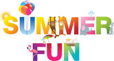 Summer fun word in childrens alphabet typeface — Stock Photo