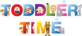 Toddler time word in childrens alphabet typeface — Stock Photo