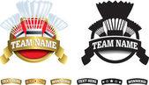 Badge, symbol or icon on white for badminton — Stock Photo