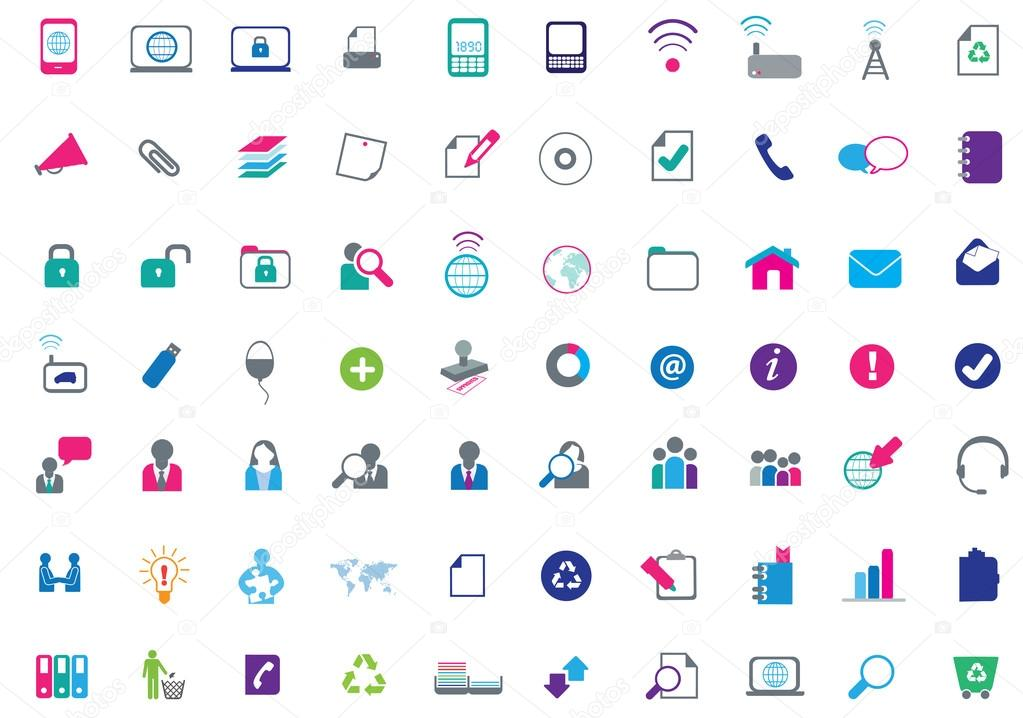 Large Icon Set Set of Flat Business Icons on White Background Photo by Joingate