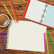 Designers or artists or creatives desk with blank paper — Stock Photo