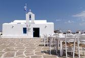 Restaurant taverns in greek island — Stock Photo