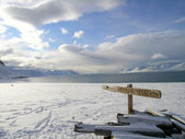 Arctic signpost — Stock Photo