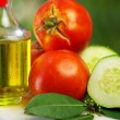Olive oil, tomato and cucumber - Stock Photo