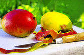 Two mangoes fruits and knife. — Foto de Stock