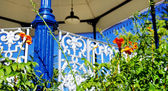 Detail of the bandstand and flowers — Stock Photo
