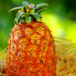 Pineapple on green background - Stock Photo
