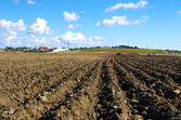 Landscape of plowed field at Portugal — Foto Stock