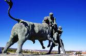 Portuguese bullfighting sculpture, Amieira village, Portugal — Stock Photo