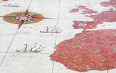 Old map on pavement, Belem district, Portugal — Stock Photo