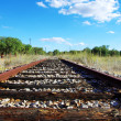 Old railroad at portuguese field — Stock Photo