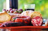 Bread, meat of pork and e wine — Stock Photo